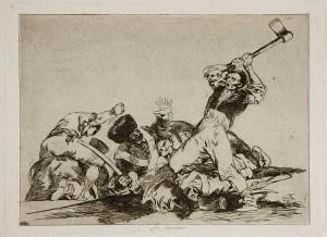 لوحة رقم 3 رجل على وشك قطع رأس جندى بفأس